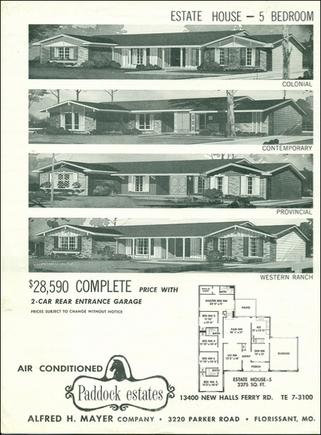 """1960's. Paddock Estates, Florissant Missouri. Love it! The 5 bedroom """"Provincial"""" is the home I grew up in ;-)"""