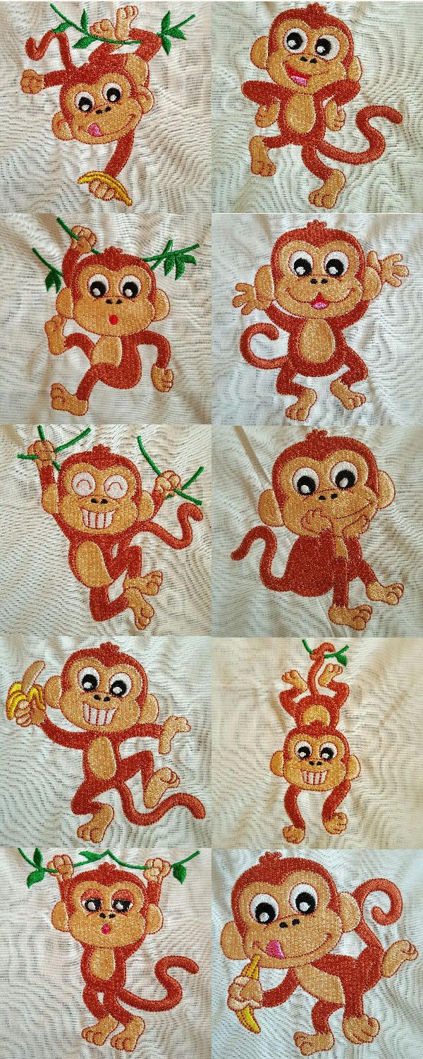 Happy Monkeys Embroidery Machine Design Details Machine