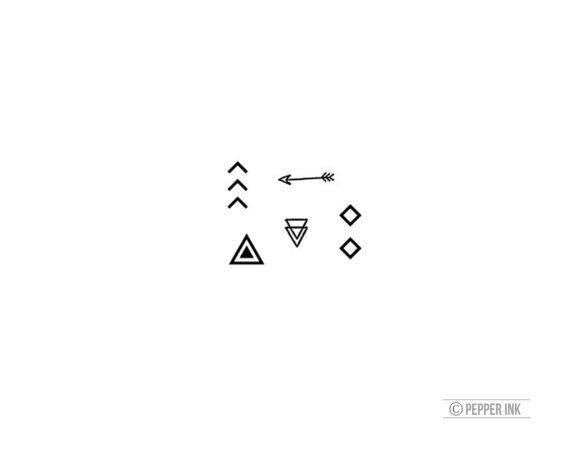 geometric tribal tiny temporary tattoos for wrist by pepperink