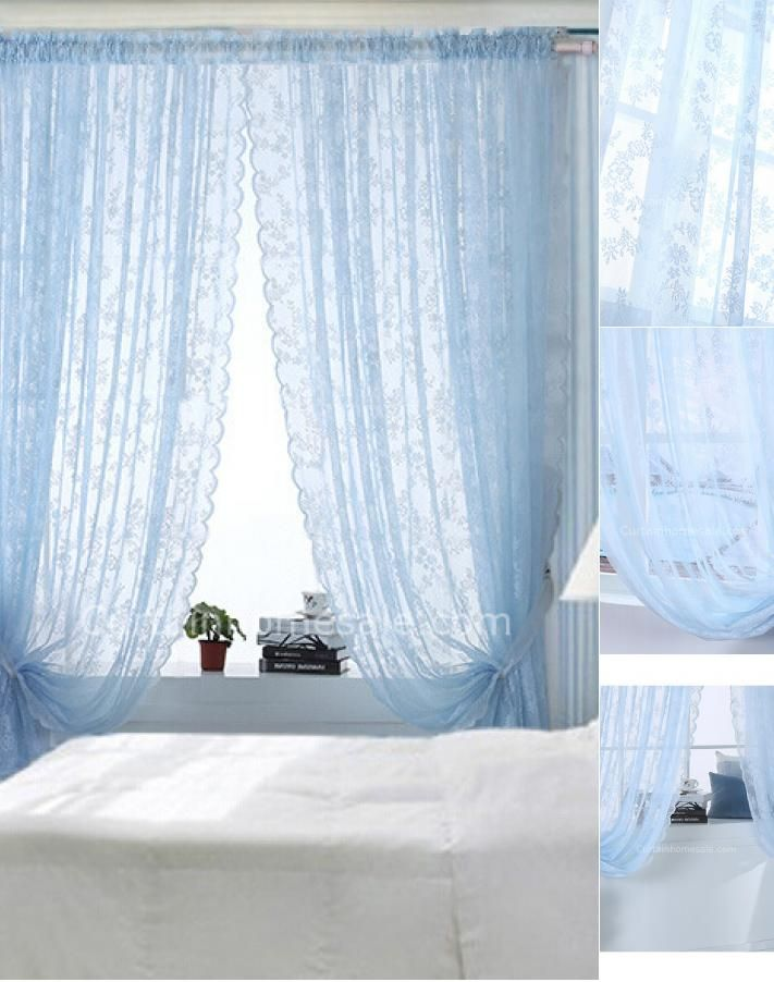 Blue Color Clical Elegant Lace Curtain Of Sheer