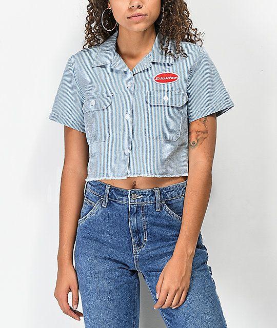 408bf06275afd Dickies Work Stripe Crop Button Up Shirt
