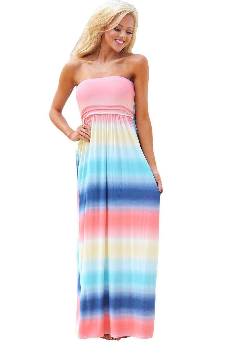 Robe Boheme Longue Chic Bustier Multi-couleur Tie Dye Pas Cher www.modebuy.com @Modebuy #Modebuy #MultiCouleur #vêtements #me #mode