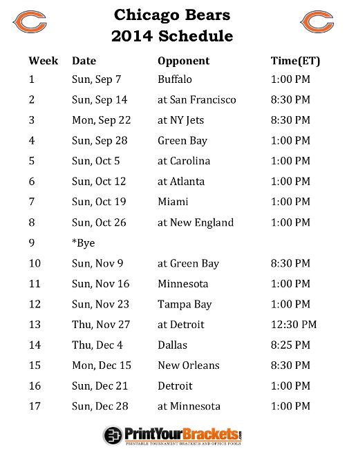Printable Chicago Bears Schedule - 2014 Football Season