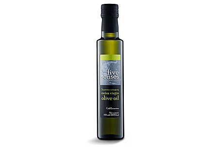 Superior category olive oil obtained directly from olives and solely by mechanical means. It is produced with the method of first cold extraction at low temperatures (T<27o C), under constantly controlled hygienic conditions.  Its flavour exhibits subtle pear and almond notes with a hint of pepper.