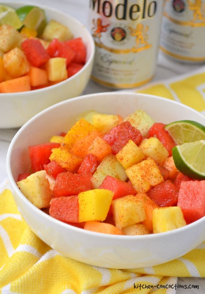 Msg 4 21+: Mexican Fruit Salad - Looking for a refreshing summer snack, side dish or party food? Try this sweet and spicy Mexican Fruit Salad recipe paired with an ice cold Modelo Especial! {ad} #SummertimeCerveza