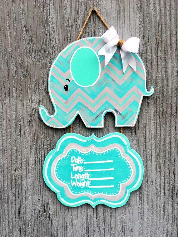 Baby Elephant Door Hangers Baby Boy Door Hangers by LBWoodenSigns
