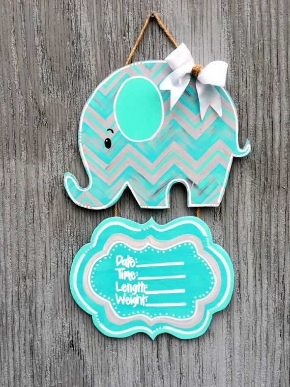 Baby Elephant Door Hangers Baby Boy Door Hangers by LBWoodenSigns