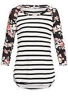 Seventyseven Lifestyle Damen 3/4 Arm Shirt Streifen Blumen Muster off weiss schwarz rot - 77onlineshop
