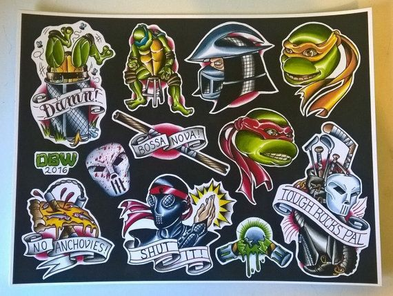 Teenage Mutant Ninja Turtle tattoo flash PRINTED on 11x14 high-quality card stock.   Will ship within 3 days of receiving payment.