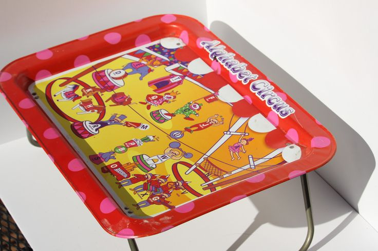 Metal Tray vintage alphabet CIRCUS TRAY--fold out legs-- serving tray, tv tray, laptop table, lap tray (1960s) by Itzvintagedarling on Etsy