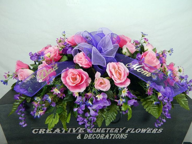 Dad mom cemetery flower double headstone saddle with mesh