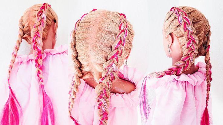 ★ Цветные косы ★ lifehack: Чем Заменить КАНЕКАЛОН ? !!★Dutch Braid With ...
