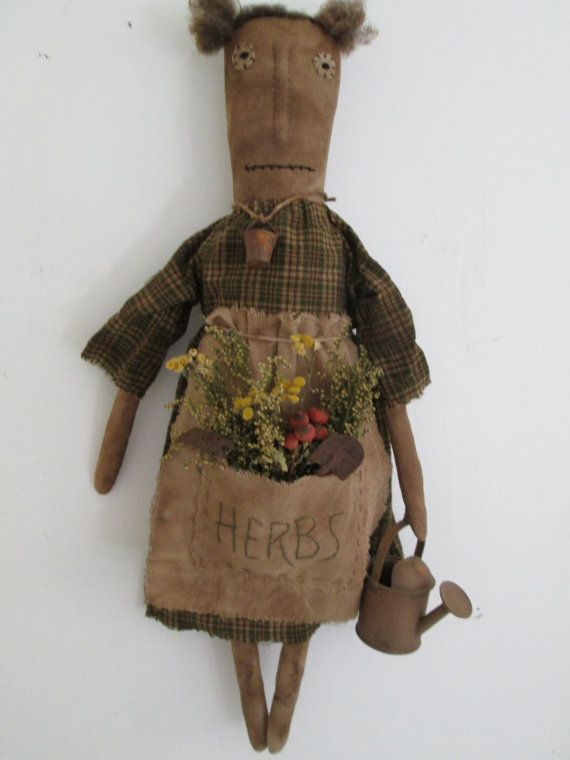Primitive Garden Doll by Bettesbabies on Etsy, $42.00