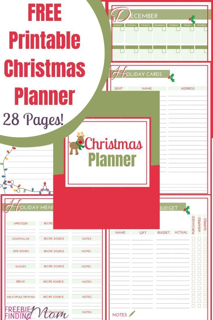 Free Printable Christmas Printables 2020 FREE Printable Christmas Planner (Pages Total 28)! in 2020