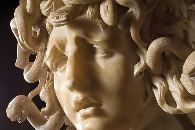 Bernini's Medusa ///  Believed to date from around 1638 to 1648, this extraordinary work takes its subject from classical mythology, as cited in Ovid's Metamorphoses. It shows the beautiful Medusa, one of the Gorgon sisters, caught in the terrible process of transformation into a monster.