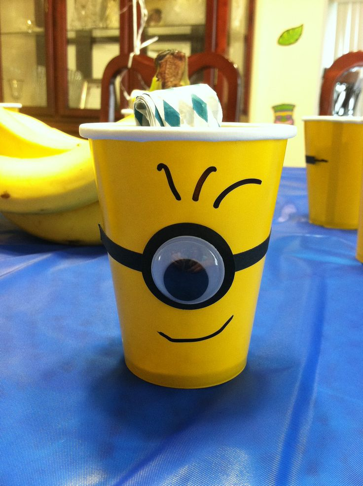 Minion cup- can find yellow cups :) @Samantha @This Home Sweet Home Blog J