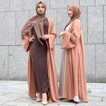 peach and brown abaya style