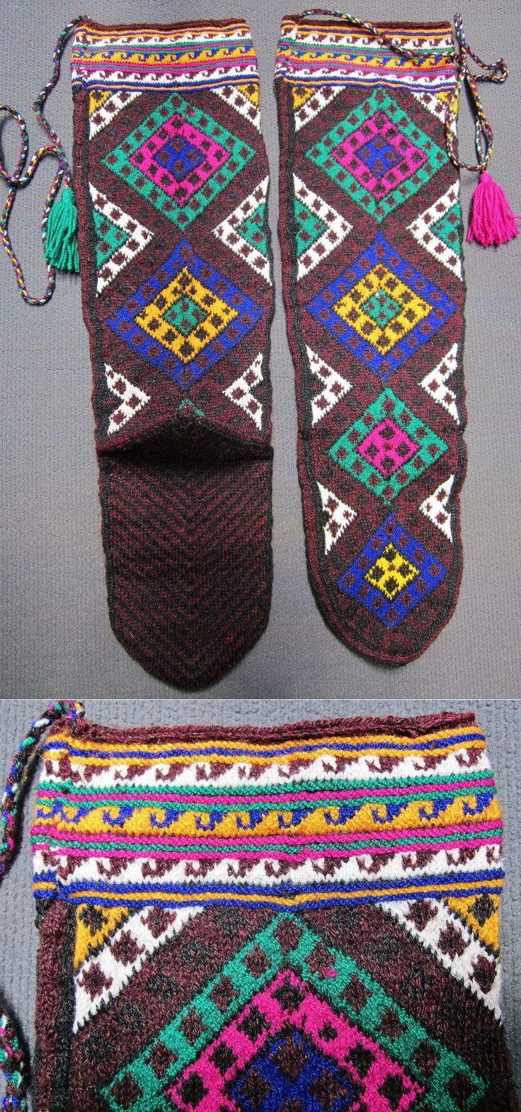 Traditional hand-knitted woollen stockings, for women. From the Sivas province.  Late 20th century.   The main pattern are concentric diamonds called 'ayna' (mirror), which is a charm against evil eye; the horizontal stripes on top of the stockings are filled with small 'çengel' (hook),  another protection against evil eye).  (Inv.nr. çor003 - Kavak Costume Collection - Antwerpen/Belgium).