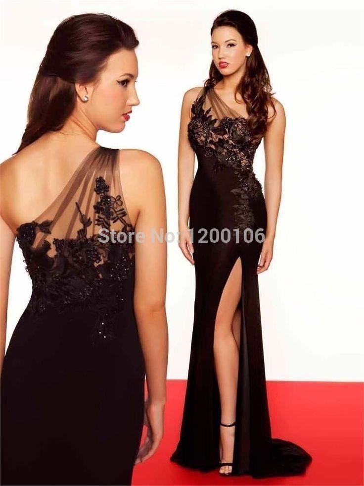Одно плечо длинные черные шифон аппликации фронта сплит вечерние платья