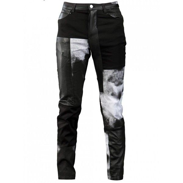 Horace patchworked jeans with leather, denim and bleach print ($369) ❤ liked on Polyvore featuring men's fashion, men's clothing, men's jeans, mens pants, pants, jeans, men, mens skinny jeans, mens leather jeans and mens bleached jeans