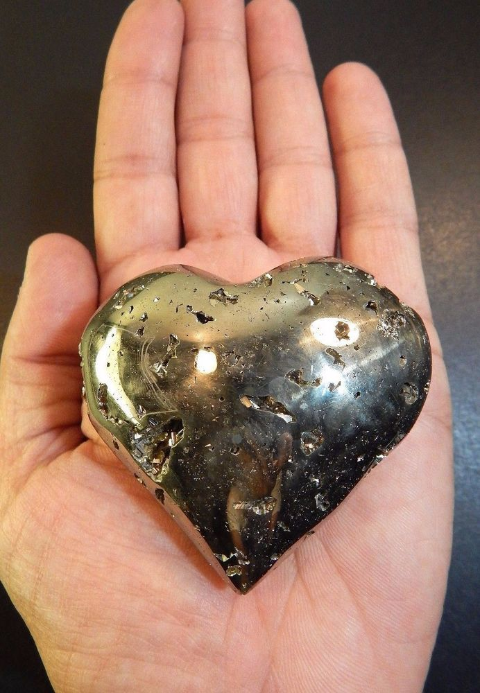 "Pyrite Heart Crystal LARGE Polished Palm Stone Geode Rock 2 5/8"" 9oz (PY6)"