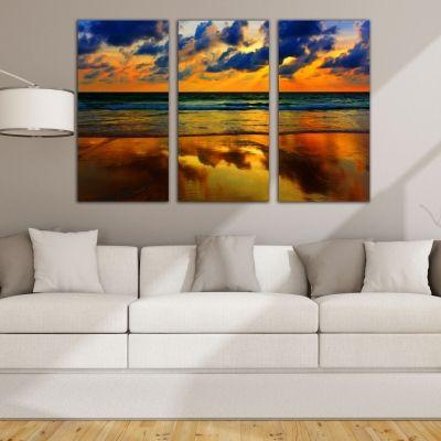 Ονειρικό ηλιοβασίλεμα τρίπτυχος πίνακας σε καμβά