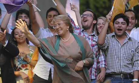 """Michelle Bachelet won landslide votes (62-38) in Chile's presidential election:""""There is no question about it: profits can't be the motor behind education becos education isn't merchandise & becos dreams aren't a consumer good."""" Good ed only available to those who can pay, w/massive student protests demanding change. Bachelet pledges social policies to address deep divide btwn rich n poor & raise corporate tax rate. Chile, top copper-exporting nation, is ranked most unequal OECD country"""