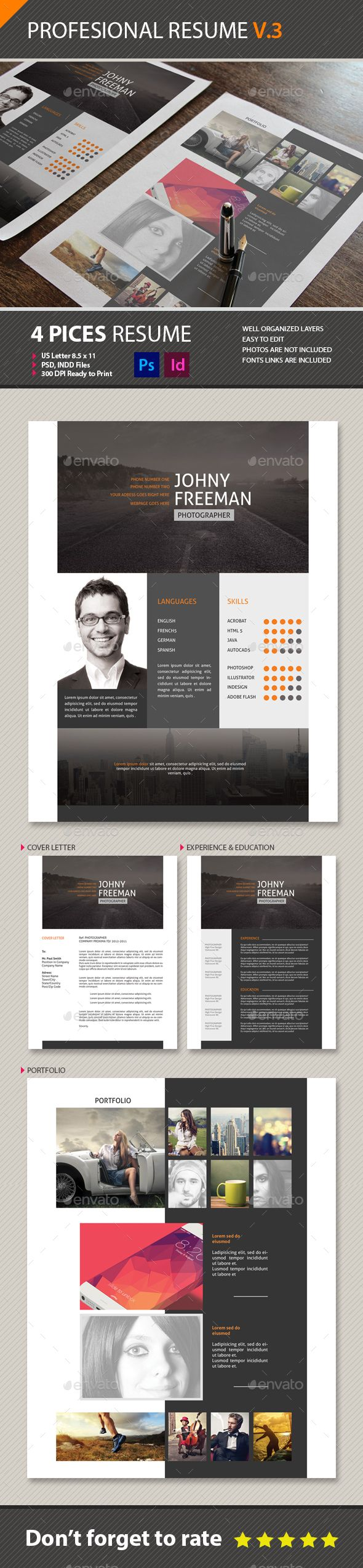 Resume Cv Template PSD INDD design Download
