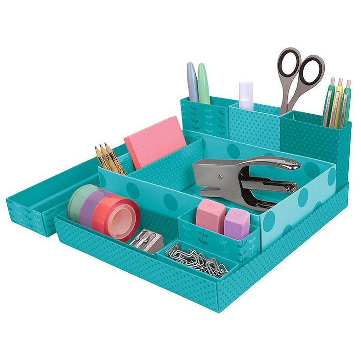 top3 by design - - paper desk organizer blue