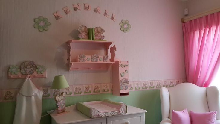 Bunnies nursery decor in pink and lime green - exclusively designed and manufactured in South Africa from 100% cotton fabrics, wallpaper borders. www.facebook.com/borderboutique.co.za