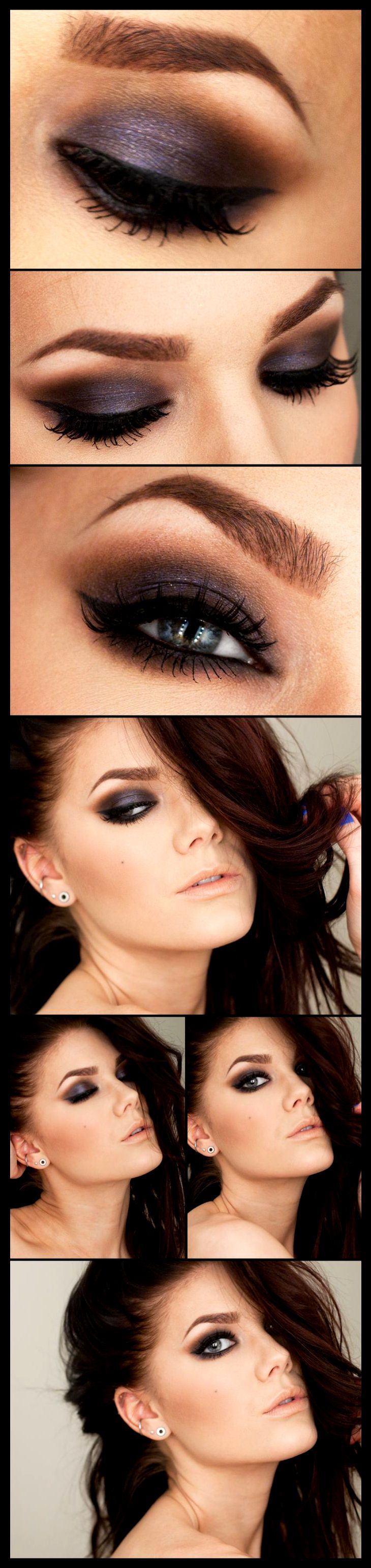 Purple Toned brown smokey eye makeup look and natural nude lip by makeup artist Linda Hallberg. Great for spring summer fall or winter - Awesome Makeup