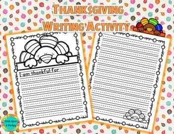 I Am Thankful - Thanksgiving Writing Activity