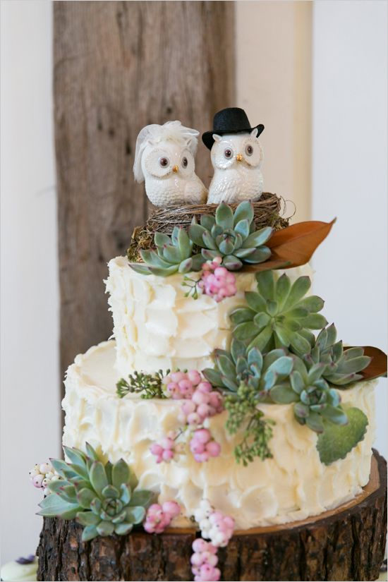 organic themed wedding cake with owl topper