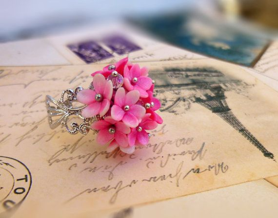 Flower ring Lilac ring Pink ring Floral ring Cute ring Gift for women Unusual jewelry Unique ring Flowers jewelry Adjustable ring