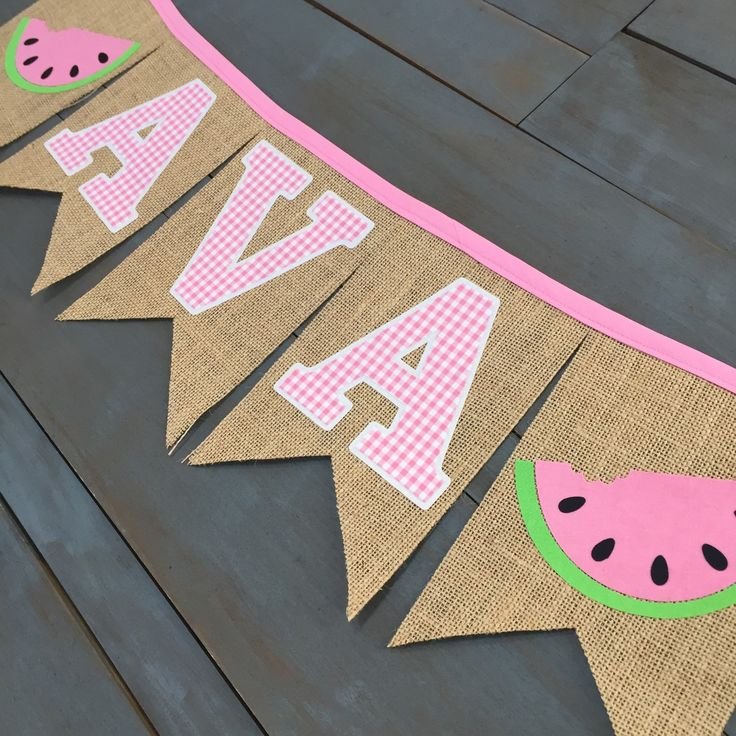 Pink gingham and watermelon custom name banner for first birthday party decorations or as a photo prop! By MsRogersNeighborhood Etsy shop