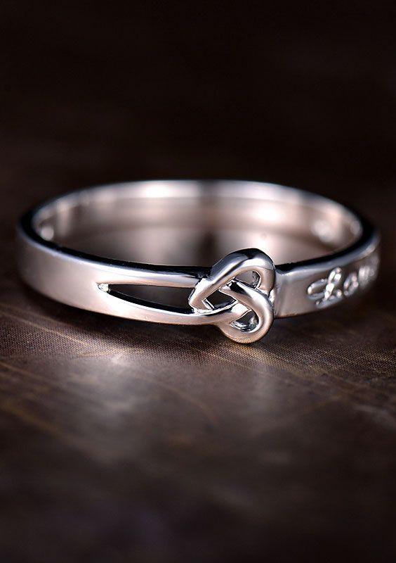 ❤ Heart Knot + Love Engraved Cute Promise Rings for Girlfriend @ iDream-Jewelry.Com