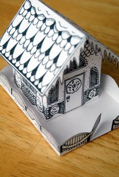 Christmas village house - free printable alternative to a gingerbread house for kids to color and put together
