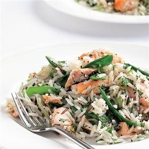 Wasabi-dressed salmon and basmati salad recipe. A simple, healthy way to serve a tasty salmon based salad.