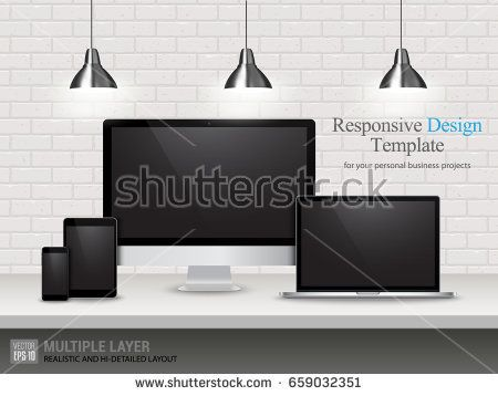 Realistic Computer, Laptop, Tablet and Mobile Phone with Black or Blank Wallpaper Screen Isolated on Vintage Brick Wall. Set of Device Mockup Separate Groups and Layers. Easily Editable Vector.