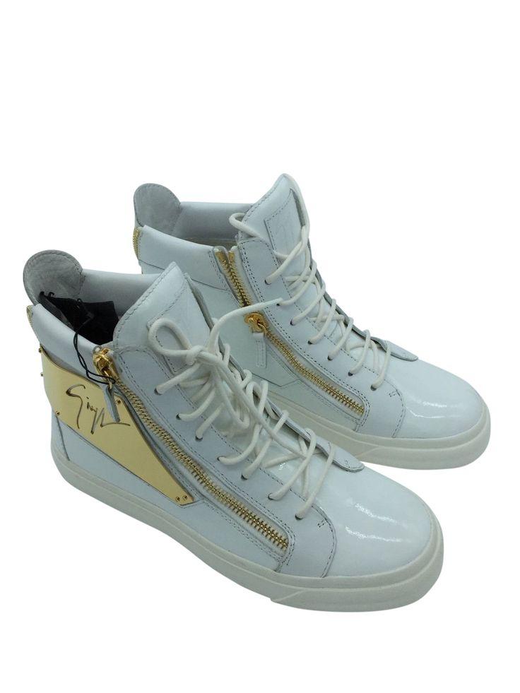 Giuseppe Zanotti Men's Patent Logo Plate HighTop Sneaker White Sz 7