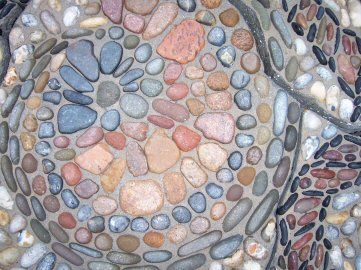 Detail in Hindpool Park pebble mosaic, Barrow in Furness, Cumbria