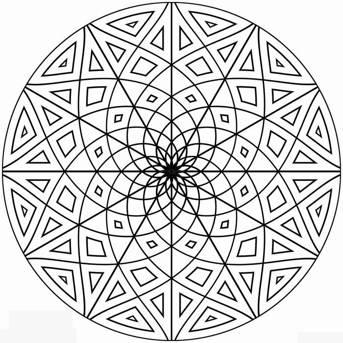 free kaleidoscope coloring pages to print - Coloring Pages Designs Shapes