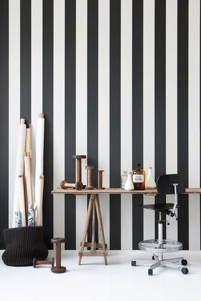 DIY you can actually do...and for cheap. Classic black and white room stripes. Now with no need for paint, mess or hassle!
