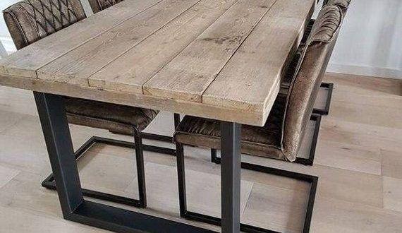 Table moderne en bois de récupération Table m…
