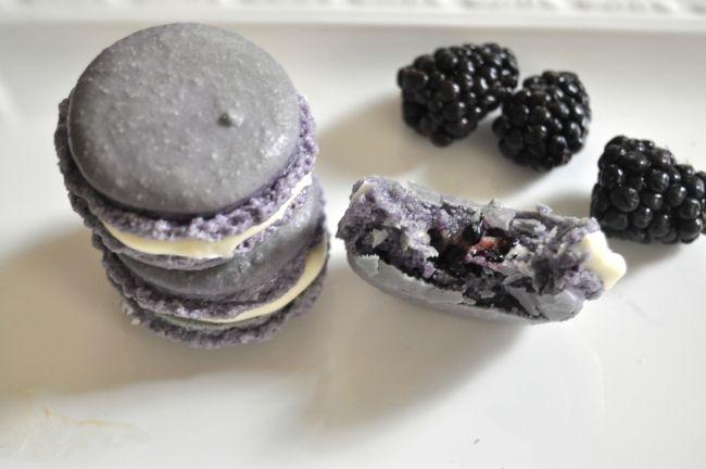 Blackberry White Chocolate Macarons | Macaron Recipes | Pinterest