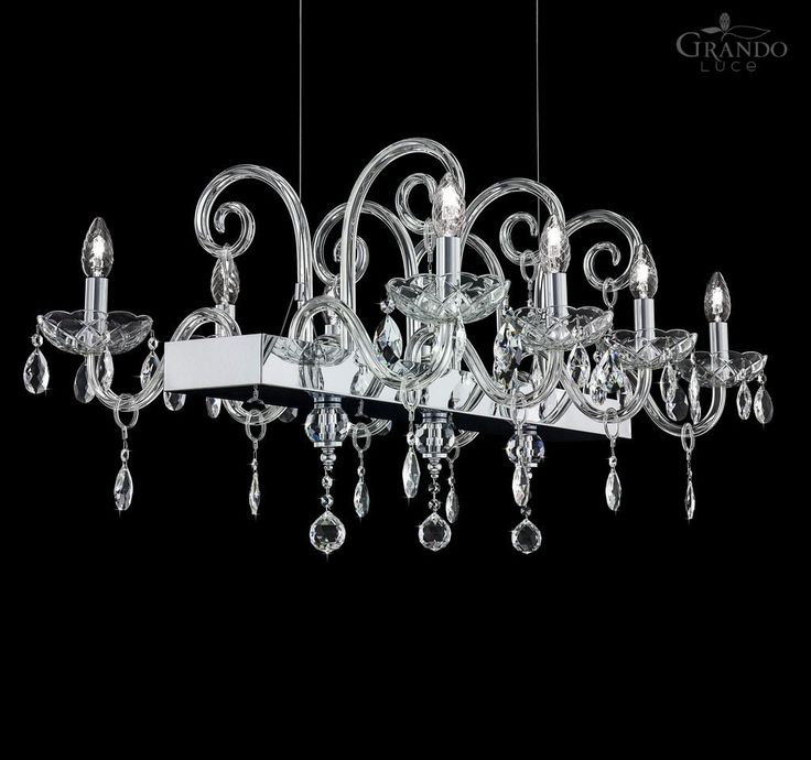 106/8 RL chrome crystal chandelier decorated with Swarovski Spectra crystal. - GrandoLuce