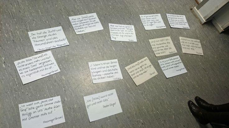 """Einige Folien/Fotos von einem Studenten-Referat in dem Seminar """"'Zigeuner'-Bilder"""", Universität Köln, WS 2014/15. Vorgestellt wird die Theodor Fontane-Novelle """"Ellernklipp"""" aus dem Jahr 1881 (Erstveröffentlichung). Hier: Arbeitsnotizen (auf dem Boden)!"""