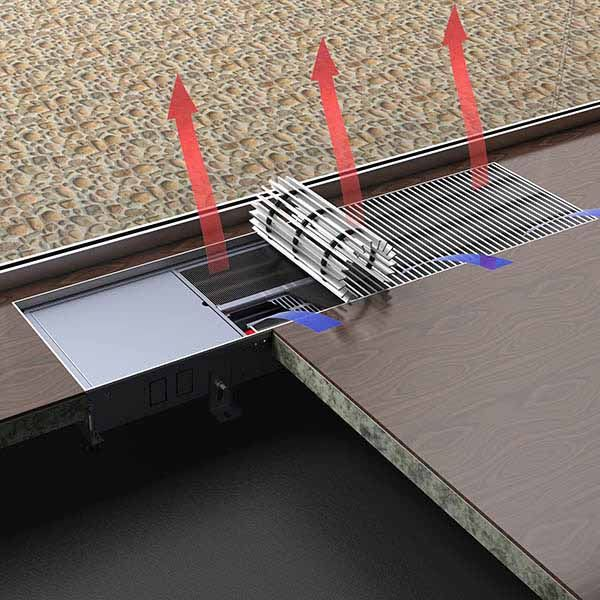Fan assisted trench heating,trench heating radiators,trench radiators Freedom forced air heating trench radiators are based on the FN(nature convector)to add cross-flow fan.This kind of trench heater can release much stronger heat than nature convector.