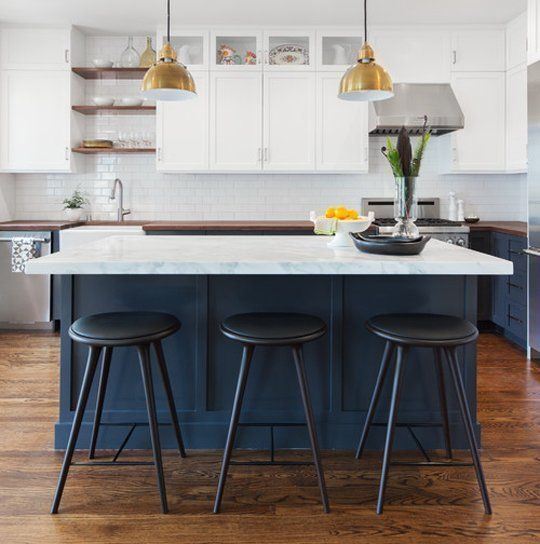 Trend Alert: Navy, Marble & Brass in the Kitchen & Bath White subway tile work well with the marble in this kitchen by Craig O'Connell Architecture featured on Houzz.