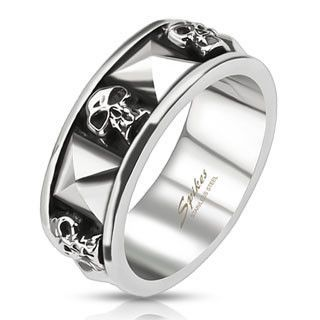 Skull and Pyramid Combination Cast Band Ring Stainless Steel